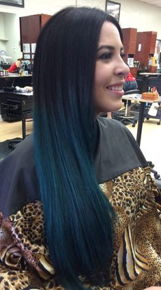 Photo of Kellie Webb - Encinitas, CA, United States. Balayage Ombre with blue and green Joico intensity hair color