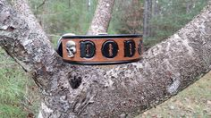 The Dodger - Classic Black & Brown Leather Dog Collar with Sugar Skulls