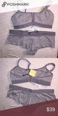 "Love Haus by Beach Bunny swimwear bra and shorts Love Haus by Beach Bunny swimwear presents the Super cute and comfy heather grey ""hooked up bralette"" and matching  ""hooked up shorts"" top is a medium, short is a small Beach Bunny Intimates & Sleepwear"