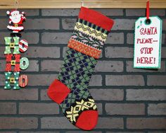 This Argyle Christmas stocking featuring snowflakes and ivy adds a charming, homespun feel to your holiday decor!. I knit the cuff, heel and toe