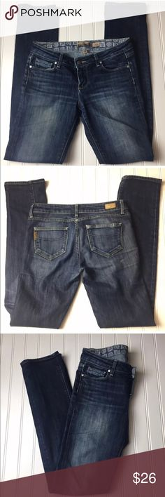 "Paige Premium Denim Womens Sz 25 Skyline Jeans Paige Premium Denim Womens Sz 25 Skyline Jeans, Faded Whiskers Good condition  Non smoking and pet free home.  Measured flat and unstretch: Waist:14.5"" Rise:8"" Inseam:32.5"" Outseam:40"" Leg Opening:6.5"" PAIGE Jeans Skinny"