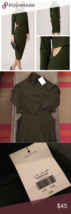 NWT Topshop roll neck dress NWT roll neck midi dress with side cutouts.       US size 10 Topshop Dresses Midi