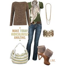 Everyday comfort..love the green and brown combo