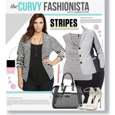 Spring Stripes With The Curvy Fashionista - plus size by beebeely-look on Polyvore featuring moda, maurices, Torrid, Marina Rinaldi, H&M, Stuart Weitzman, Nine West, Butter London and Topshop