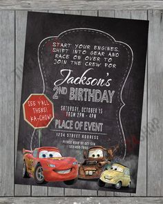 Disney's Cars Birthday Invitation! Lightning McQueen Mater Luigi Birthday Party Invite! Cars The Movie Card Free Thank You Card
