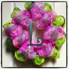 Pink Green and Silver Deco Poly Mesh Wreath with by lace554, $54.00