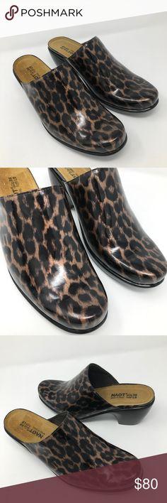 3067dc3a901b2e Naot Leopard Print Mules Clogs Euro Comfort Shoes Naot Women Shoes Size 39  8.5 Leopard Print