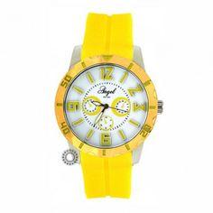Γυναικείο μοντέρνο sport quartz ρολόι ANGEL με λευκό καντράν, δίχρωμη κάσα & κίτρινο καουτσούκ | Ρολόγια ANGEL στο κατάστημα ΤΣΑΛΔΑΡΗΣ Χαλάνδρι #angel #γυναικειο #ρολοι Black Friday, Watches, Accessories, Clocks, Clock, Ornament