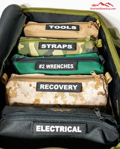 Jeep Wrangler Discover Overland Tool Bag Organizer Kit - Complete Set Overland Tool Bag Organizer - Vehicle Tool Bag Organizer by Overland Gear Guy Overland Gear, Overland Truck, Overland Trailer, Jeep Jk, Jeep Wrangler Camping, Jeep Gear, Chevrolet Blazer, Chevrolet Silverado, Jeep Wrangler Accessories
