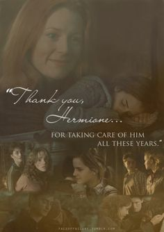 He really wouldn't have gotten far without her... I love how this is from Lily to Hermione, it's not something you often see ♥