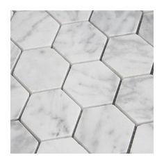 Hexagonal wit marmer wand - & vloertegel 5 x 5 per Honeycomb Tile, Hexagon Mosaic Tile, Hex Tile, Bathroom Floor Tiles, Shower Floor, Bath Shower, Wall Tiles, Tile Stores, Scrappy Quilts