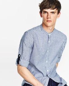 ZARA - Camisa de lino algodón a rayas. Slim fit. Cuello mao y manga larga con sardineta. Cierre con botones
