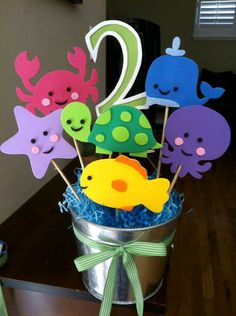 Under The Sea Theme Centerpiece by jollylollycreations on Etsy Under The Sea Theme, Under The Sea Party, 3rd Birthday Parties, 2nd Birthday, Water Birthday Themes, Mermaid Birthday, Birthday Ideas, First Birthdays, Etsy