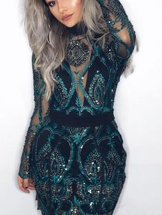 Premium Long Sleeve Sequins Dress