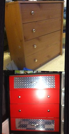 Before And After Of A Dresser We Turned Into A Snapon Style Tool Box. We