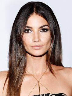 Lily Aldridge's smoky eye and nude lip complement each other perfectly. // #Beauty