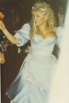 Stevie as 'Alice' in 1989 for her 'The Other Side of the Mirror' release party.