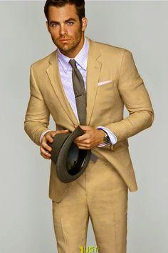 Tan suit! Chris Pine.