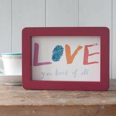 Little Framed Hand Glittered Love Print