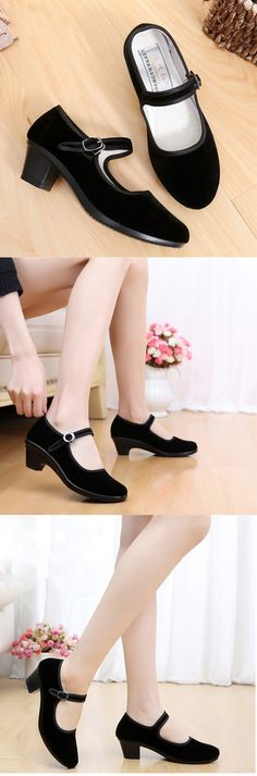 d843b6b208ff8 US 9.15 Black Square Heel Buckle Casual Strappy Mary Jane Shoes
