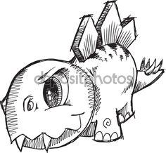 стегозавра динозавр эскиз Векторный Иллюстрация искусства - Стоковая иллюстрация: 54573057