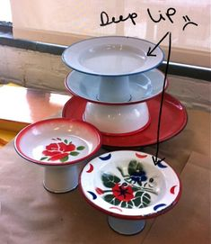How to make DIY cake stands that have a flat top using candle sticks and microwave platters.