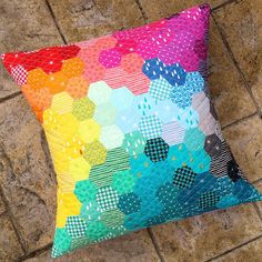 Kelly, thank you for letting us share the beautiful photos of your Hexie Cusuion and choosing to use L's Modern for your projects!! If you are inspired by Kelly's work and interested in L's Modern, both L's Modern Basics (58 colors) and L's Modern Fun Geometric (48 Colors) from Spring 2015 are in stores already!