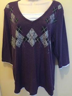 Women's  Size XL Essentials Top Geometric  Print Purple EUC #EssentialsbyMilano…