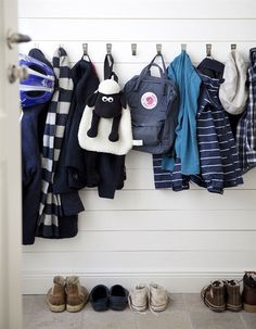 Hang a row of BLECKA hooks low on the wall so the kids can help themselves to coats and backpacks.