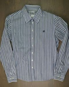 Lilly-Pulitzer-Shirt-8-Womens-Button-Down-Long-Sleeve-Blouse-Striped-Blue-White