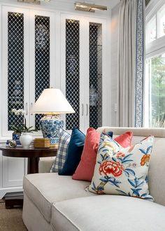 Pillow Fabrics. Pillows. Living room feature Thibaut fabrics. Thibaut Giselle…