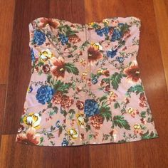 Strapless floral corset top Barely worn pink floral strapless corset top. I got this in Paris! Tops