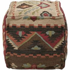 Southwestern Pouf in Feather Gray