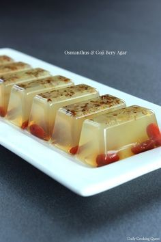 Osmanthus and Goji Berry Agar. I think some of the ingredients are hard to find but I am loving this recipe!
