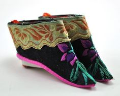 lotus shoes from china   Chinese Foot Bind Bound Feet Lotus Shoes Silk Handmade