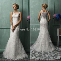 2.015 Amelia SPOSA Svatební šaty s Scoop Mermaid soud Vlak Krajka New Hot vlastních okouzlující církevní svatební šaty-in Svatební šaty od Svatby & Oslavy na Aliexpress.com | Alibaba Group