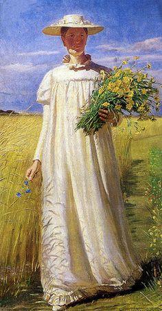 Artist's wife Anna Ancher, 1902 - Michael Peter Ancher (Danish artist, 1849-1927)