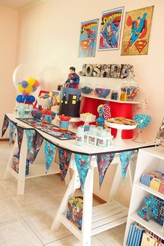 boys superman party dessert table