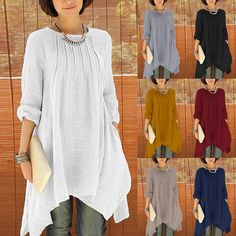 £5.51 GBP - Uk 8-24 Zanzea Women Cotton Linen Long Sleeve Baggy Tops Shirt Blouse Pullover #ebay #Fashion