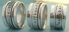 Spinner Ring Personalized with Name Sterling Silver Promise Ring