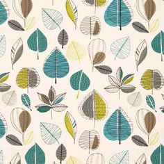 Maple Curtain Fabric Teal | Cheap Printed Curtain Fabric | UK Delivery