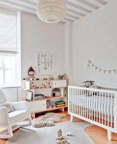 51 Gorgeous Gender-Neutral Nursery Ideas Striped Nursery, Baby Nursery Neutral, White Nursery, Nursery Room, Kids Bedroom, Nursery Decor, Nursery Ideas, Kids Rooms, Neutral Nurseries