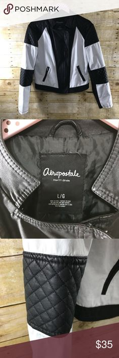 Areopostale black/white motorcycle  jacket LG Super cool white cotton with black faux leather. Size large! Bomber/moto jacket. In great condition, very small flaws if any! It is lined and machine washable. True to size Aeropostale Jackets & Coats