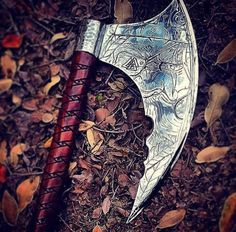 "Blackguard Customs own design of the ""All Father"" Viking Battle Axe. Hand engraved metal and custom wood carving. Viking Battle, Viking Axe, Battle Axe, Vikings, Cool Knives, Knives And Swords, Pretty Knives, Machado Viking, Armas Ninja"