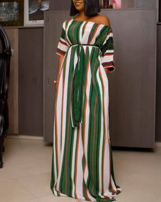 Half Sleeve Colorful Striped Maxi Dress Women's Online Shopping Offering Huge Discounts on Dresses, Lingerie , Jumpsuits , Swimwear, Tops and More. African Maxi Dresses, Polka Dot Maxi Dresses, Latest African Fashion Dresses, African Print Fashion, Ethnic Fashion, Ankara Dress Styles, Mode Kimono, Half Sleeve Dresses, Long Dresses