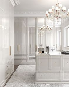 All white closet. Yes or no? Walk In Closet Design, Bedroom Closet Design, Closet Designs, Bedroom Decor, Master Bedroom Wardrobe Designs, Luxury Interior, Home Interior Design, Dressing Room Closet, Wardrobe Room