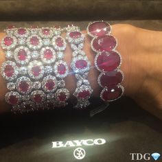 """""""Beauties in Bayco continues.... When TheDiamondsGirl asks to try on a ruby and diamond bracelet, one is never enough! Exceptional selection of Burmese…"""""""