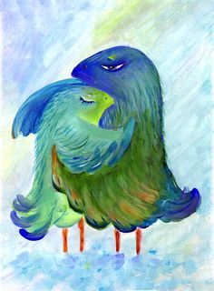 Printable Digital Download, Bird Brings Good Luck. Lovers, 4 sizes 12x18, 11x14, 8x10, 5x7, Blue Original Acrylic Painting, Decor Wall Print - pinned by pin4etsy.com