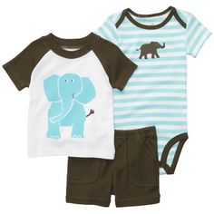 Carters Baby Set, Baby Boys Bodysuit, Shirt, and Shorts Set Newborn Outfits, Toddler Outfits, Baby Boy Outfits, Kids Outfits, Casual Outfits, Carters Baby Clothes, Carters Baby Boys, Baby Kids Clothes, Little Boy Fashion