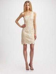 Sue Wong One-Shoulder Lace Dress